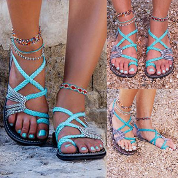 ac10b895a5e Bohemian Weave Strings Thong Pure Color Ankle Strap Women Beach Flat Sandals