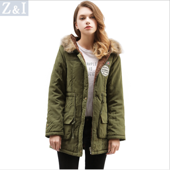 Candy Color Pockets Women Warm Oversized Hooded Winter Coat