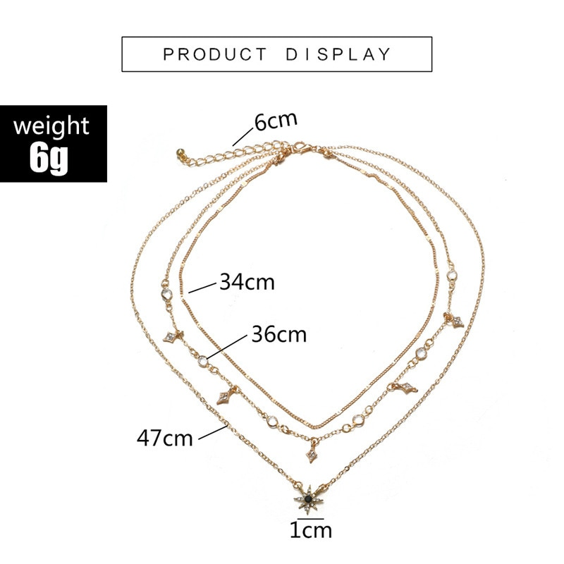 Multilayered Golden Clavicle Chain Stars Geometric Rhinestone Pendant Party Jewelry