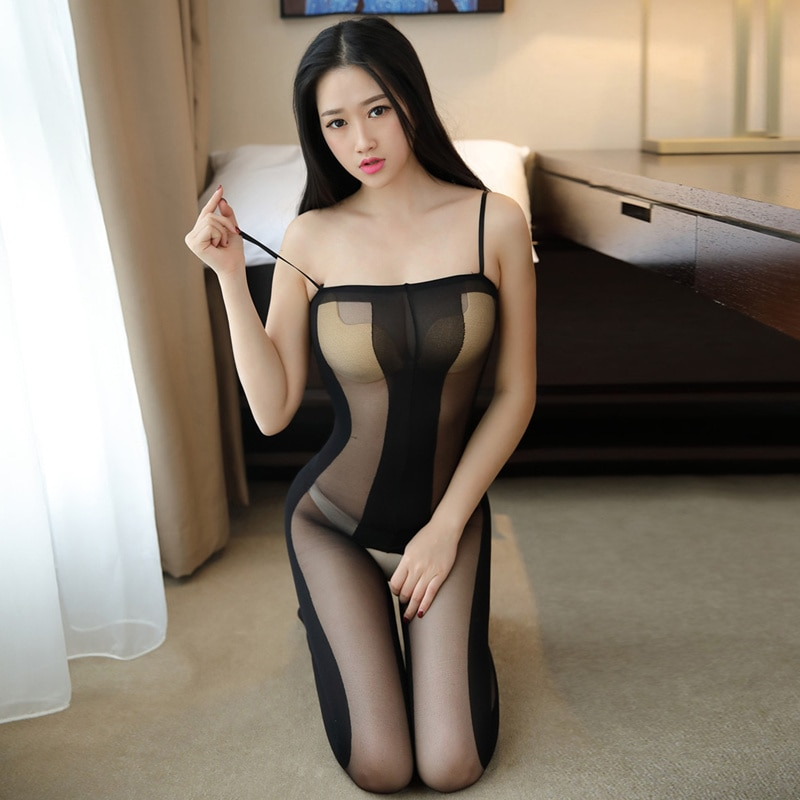 Sex Underwear Hot Erotic Transparent Body Stockings Open Crotch Tights Black Striped Women Sexy Lingerie