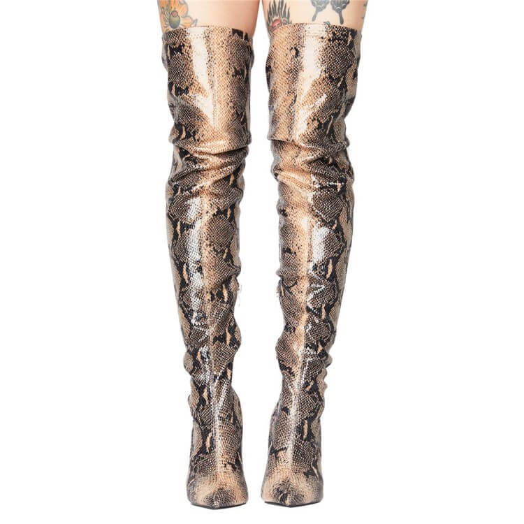 Snakeskin Party Stretch Print Point Toe Zipper Over Knee Boots