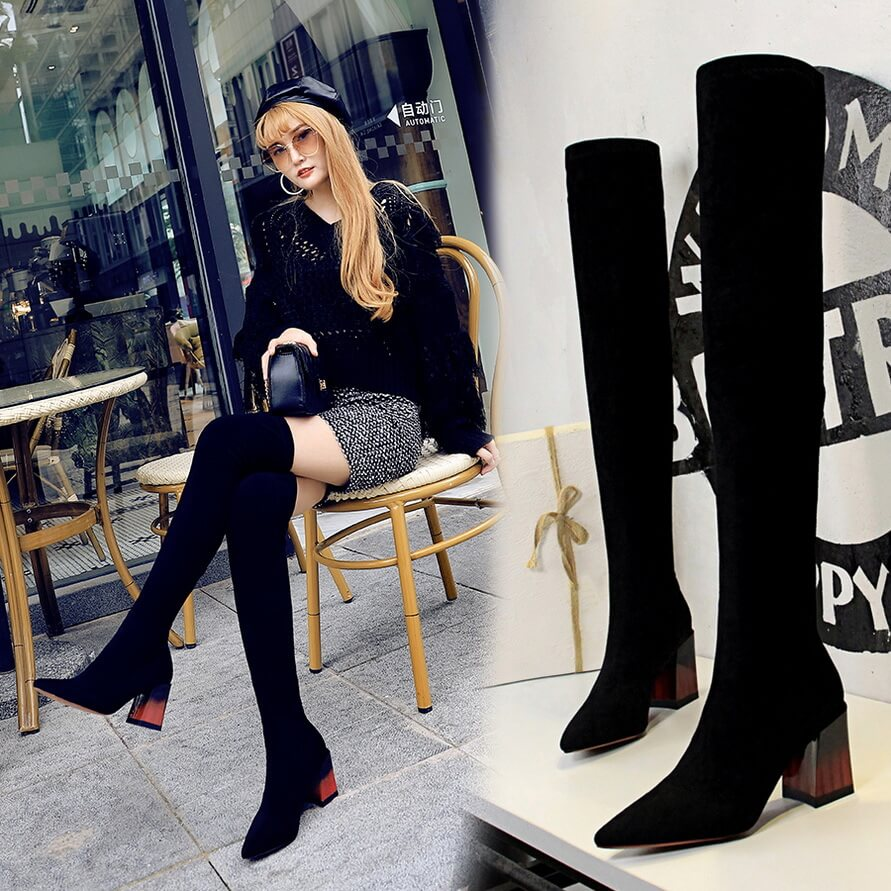 Black Inside Suede Point Toe Chunky Heel Over Knee Boots