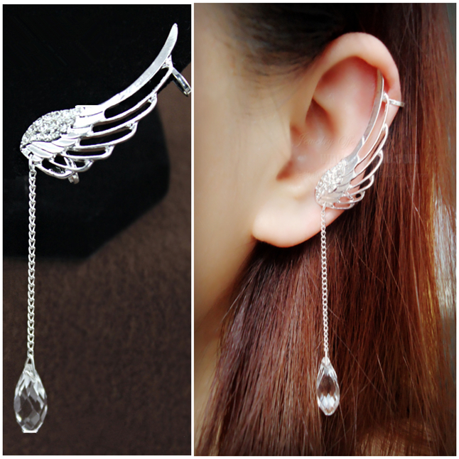 Angel's Wings Hollow-out Rhinestone Design Lady's Fashion Clip Punk Earings