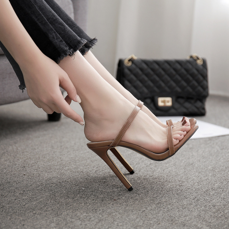 Free Shipping New style women's sandals high heel fashion sexy thin belt sandals-Brown