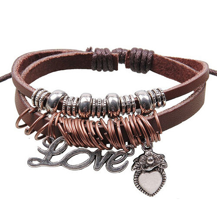 Unisex Fashion Wrap Multilayer Leather Beads Cuff Bracelet Charms Chain