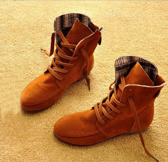 England Round Fringed Flat Boots Concise Comfortable Lace-up Suede High-Top Boots