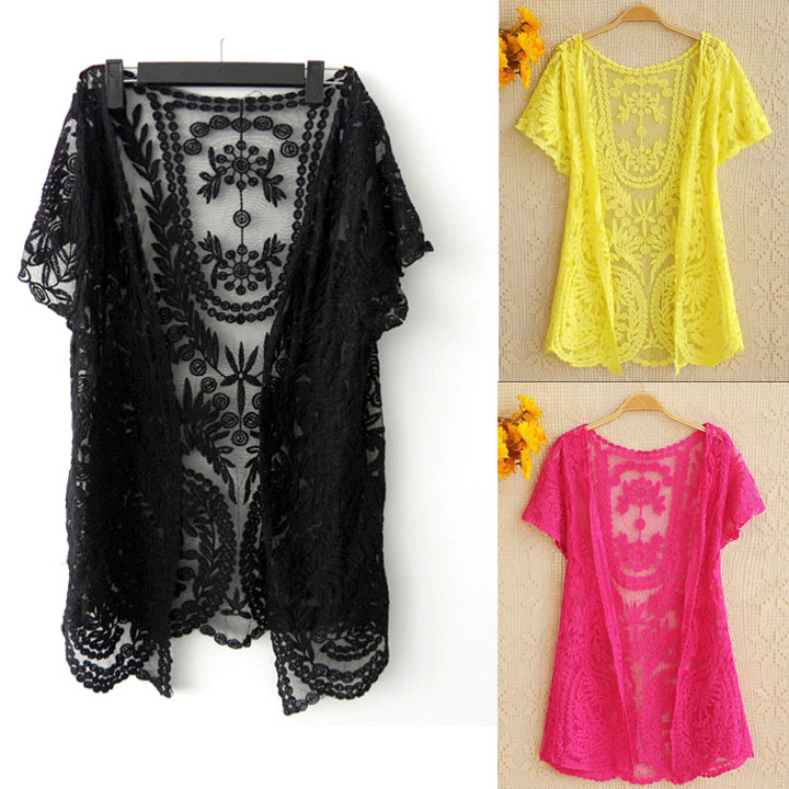 Women's Hollow-Out Shirt Lace Embroidery Floral Crochet Short Sleeve Cardigan