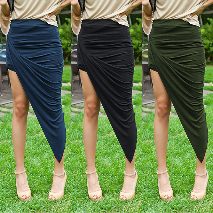 Fashion Women Wrap Banded Waist Draped Asymmetrical Cut Out High Low Skirt Hotsale