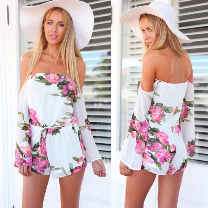 0d6d36ca629 Sexy Women Floral Printed Off Shoulder Short Jumpsuit Romper Beach Casual  Clubwear