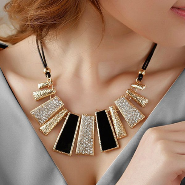 Diamante Colored Geometric Pendant Necklace