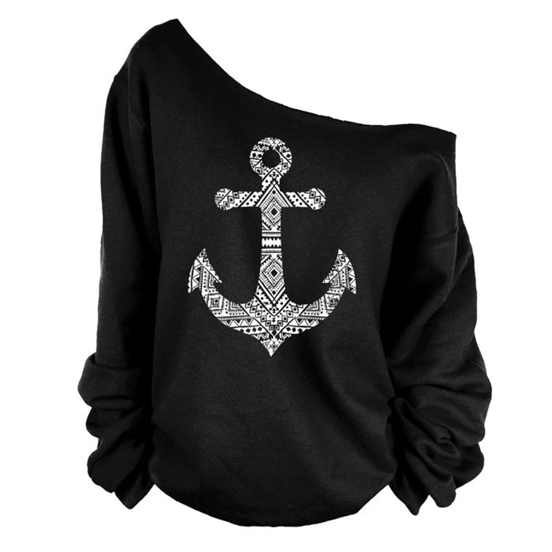 Anchor Print Skew Neck Sweatshirt T-shirt