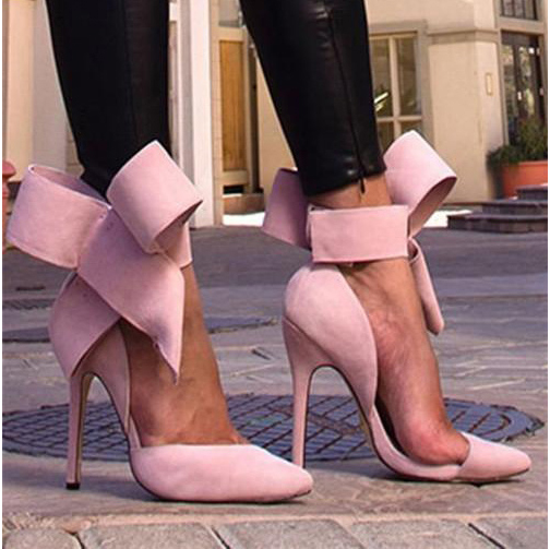 Charming Removable Big Bow High Heel Shoes