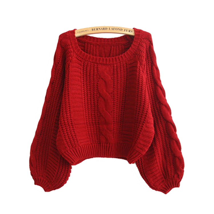 Cable Knit Scoop Neck Puff-Sleeved Sweater