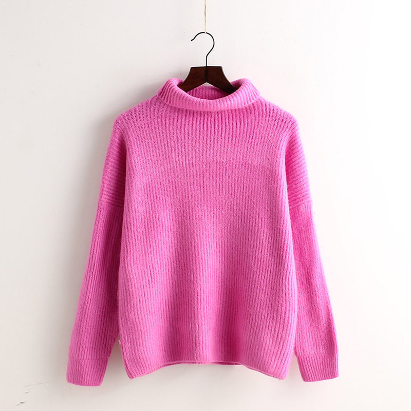 Minimal High Collar Knit Pullover Sweater