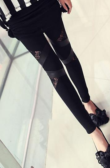 Lace Patchwork Plus Size PU Skinny Leggings