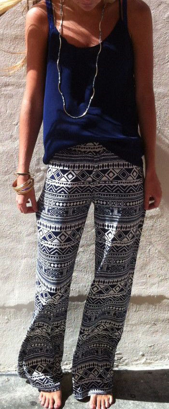 Fashion Wide Legs Straight Flower Print Pants
