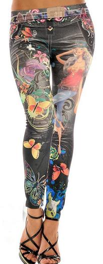 Denim Low Waist Flower Print Skinny Fashion 9/10 Pants Leggings