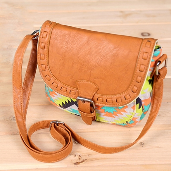 New Fashion Retro Women Canvas Adjustable Strap Geometric Animal Print Small Shoulder Bags Handbag