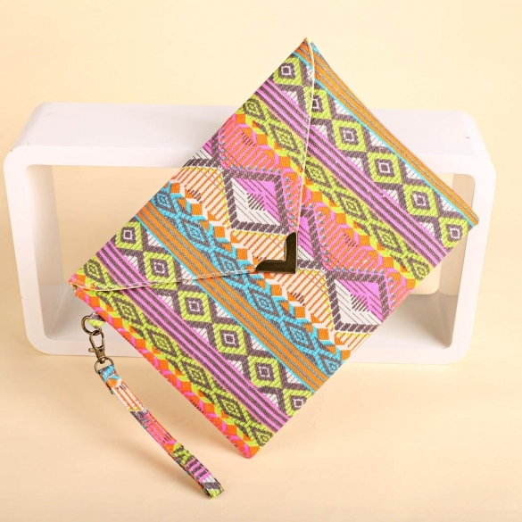 New Women Canvas Envelop Clutch Bag National Style Geometric Casual Party Handbag