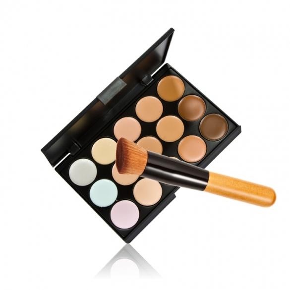 15 Colors Neutral Makeup Concealer Foundation Cream Cosmetic Palette Set Tools With Brush