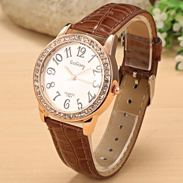 Women Fashion Synthetic Leather Large Dial Rhinestone Quartz Analog Wrist Watch Wristwatches