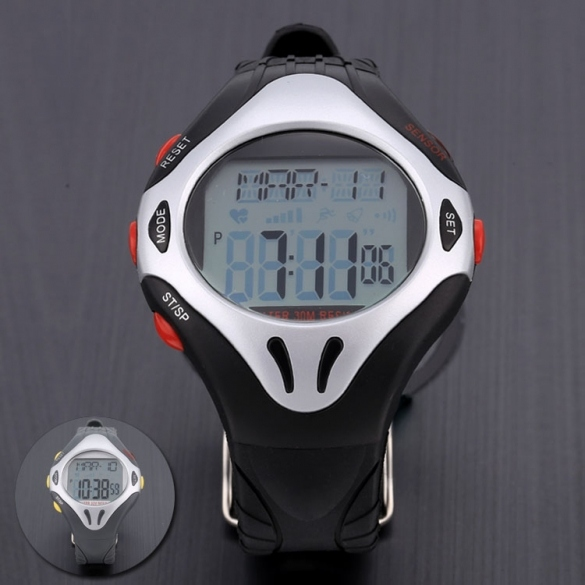 Fashion Men's Waterproof Sports Fitness Round Digital Wristwatch Watch