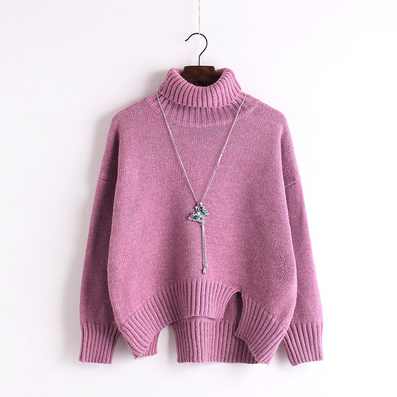 Knitted Turtleneck Long Cuffed Sleeves Sweater Featuring Slits