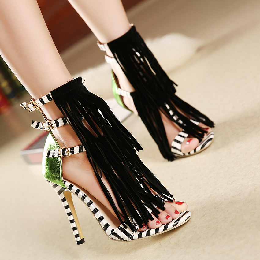 6305d4cbc32a Unique Tassel Color Matching High Heeled Sandals on Luulla