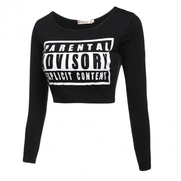 Sexy Women's Long Sleeve O-Neck Letter Print Slim Crop Tops