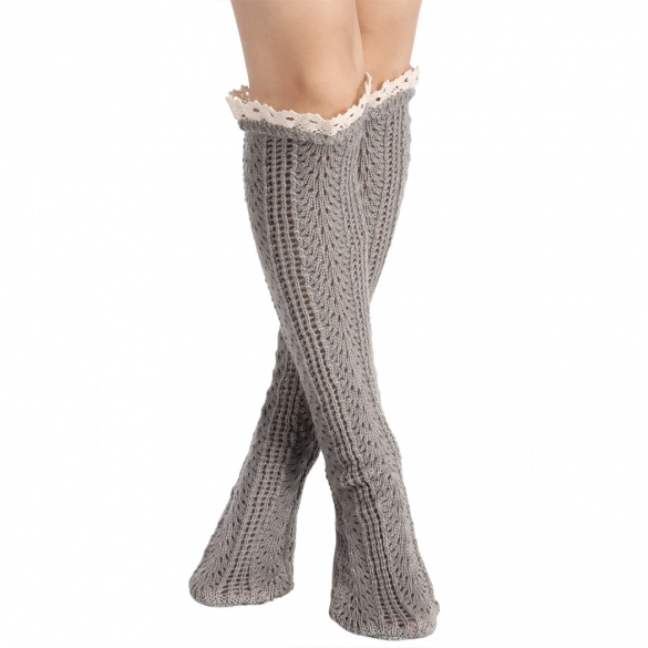 Avidlove Button Boot Socks With Lace Trim Long Wool Knitted Socks Leg Warmer