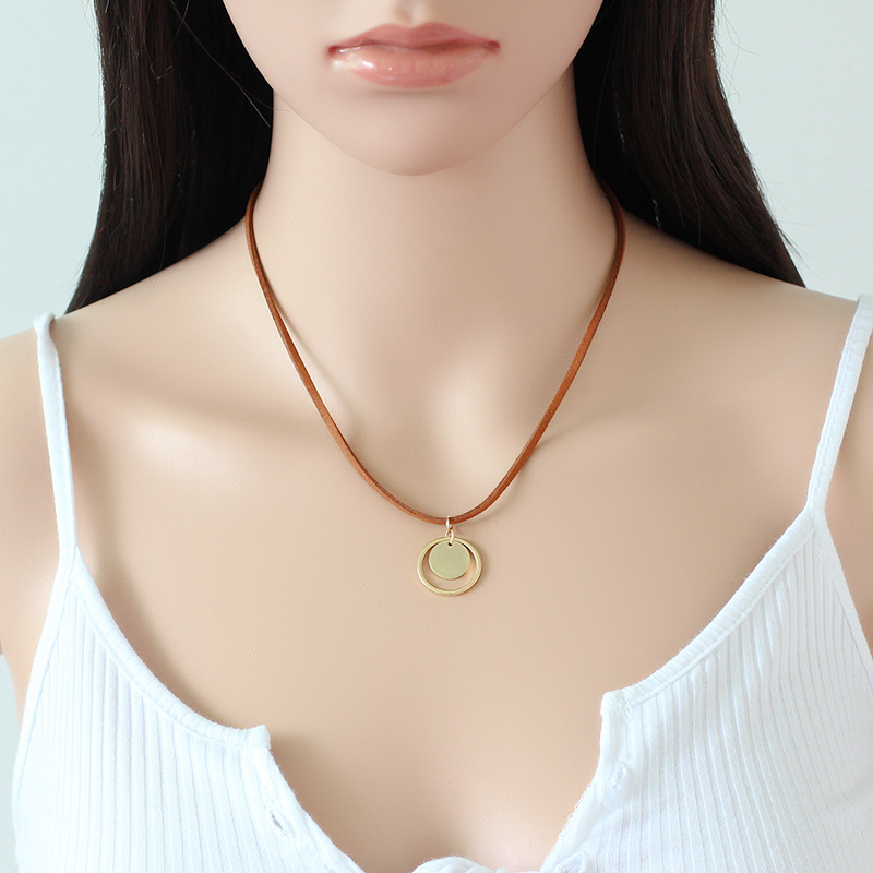Simple Korean big round cashmere Pendant Necklace