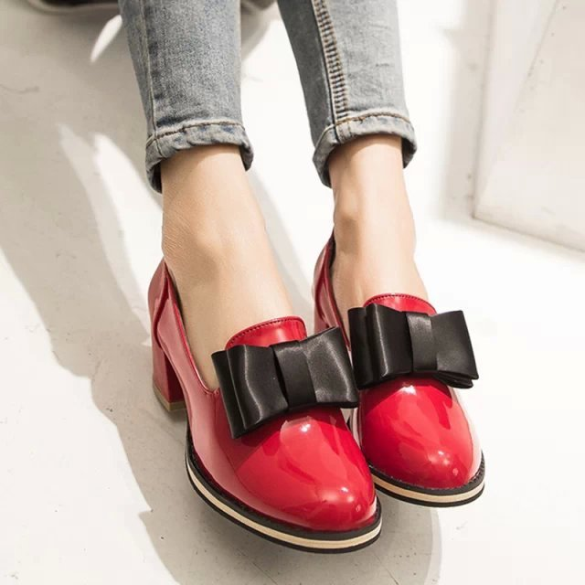 Spring Autumn Pointed Bowknot Chunky Heel Shoes