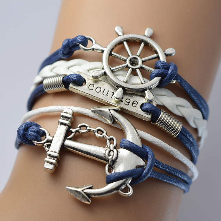 Anchor Rudder Multilayer Woven Courage Bracelet