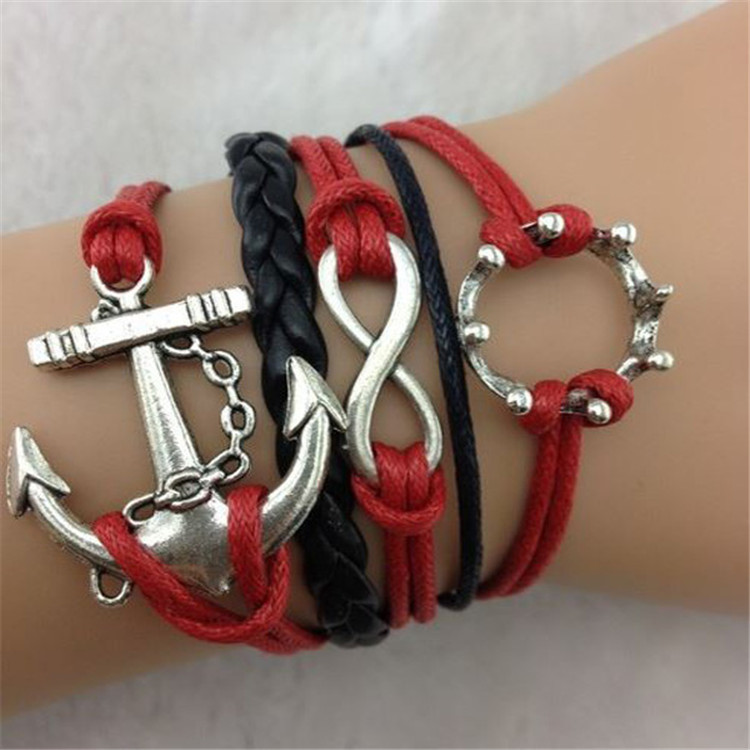 Hot Sale Fashion Multielement Leather Cord Bracelet