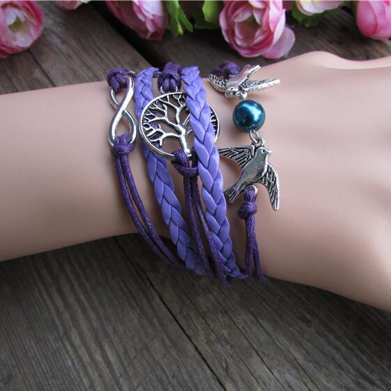 Purple Dove Tree Hand Woven Bracelet