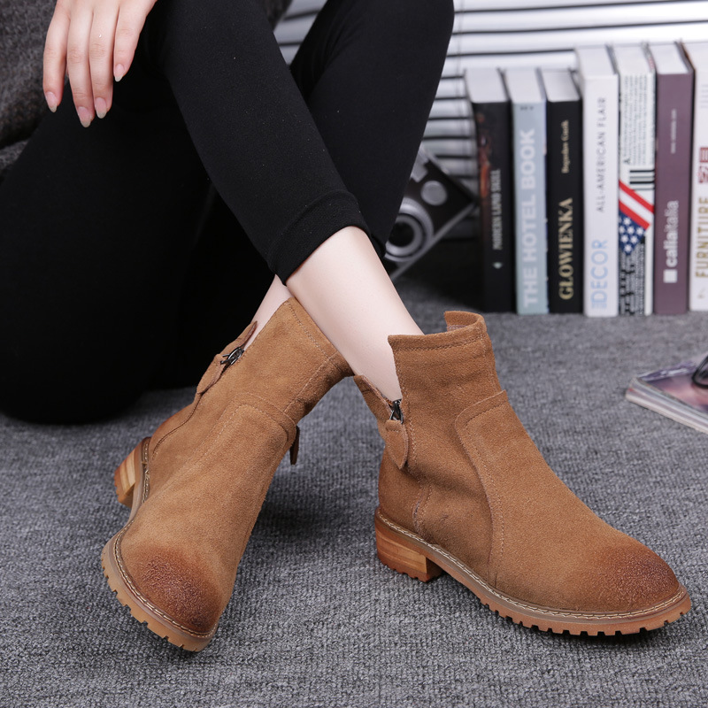 Retro Brush Off Color Leather Short Martin Boots