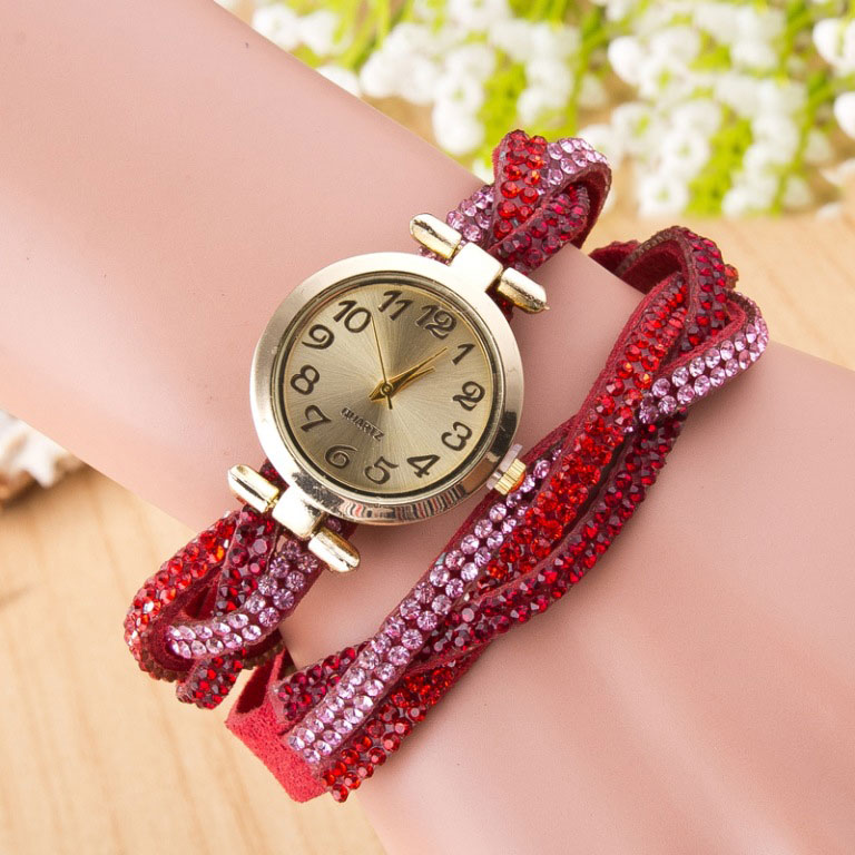 Beautiful Crystal Woven Bracelet Watch
