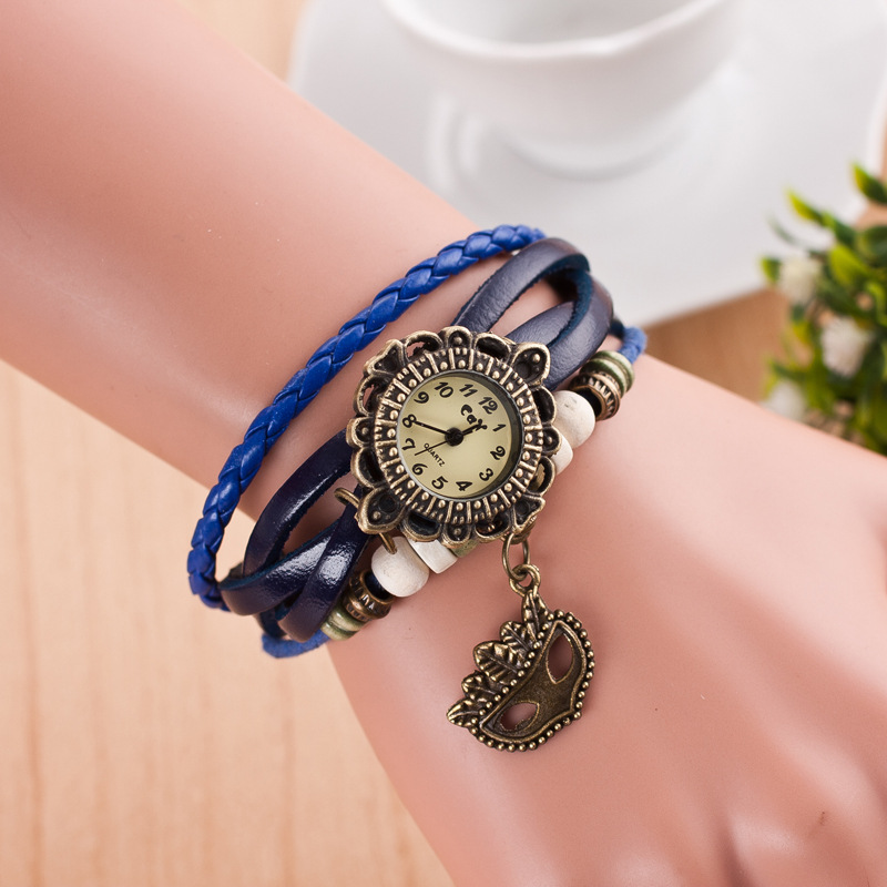 Retro Mask Handmade Woven Bracelet Watch