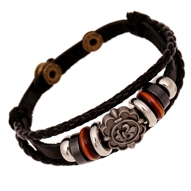 Carving Flower Multilayer Woven Leather Bracelet