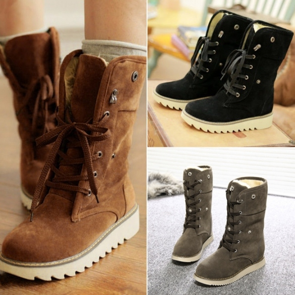 Fashion Women Winter Warm Lace Up Flat Heel Ankle Snow Boot Fleece Lined Size 36-40