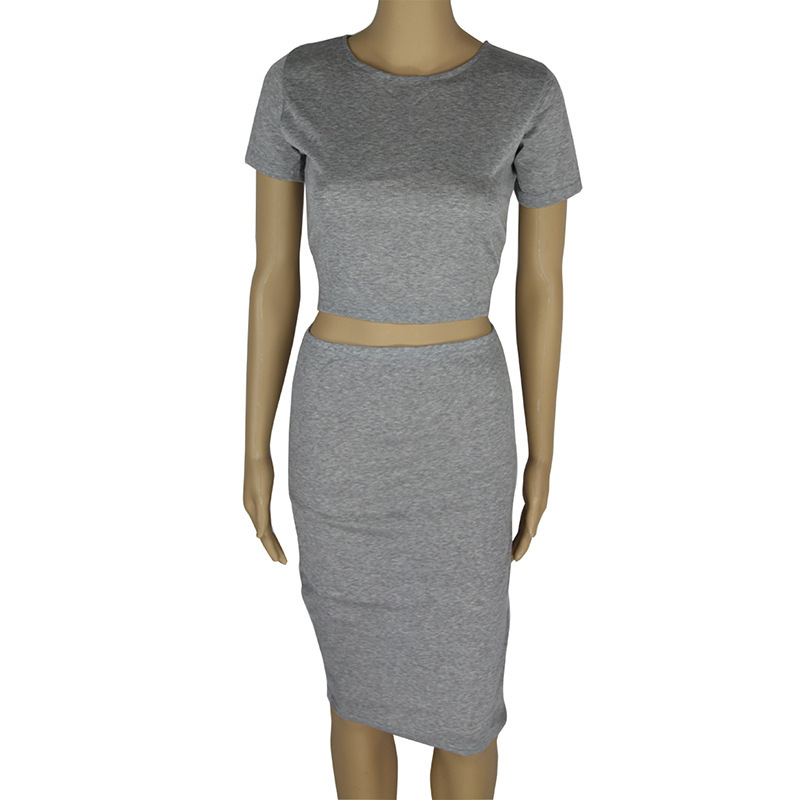 Sexy Gray Two-Piece Bodycon Dress