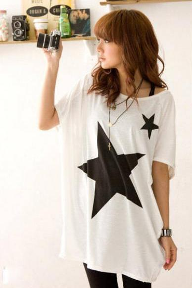 Star Pattern Loose Cotton Short Sleeve T-shirt