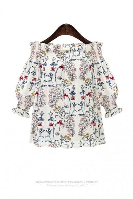 Floral Print Off-The-Shoulder Cuff-Sleeved Blouse