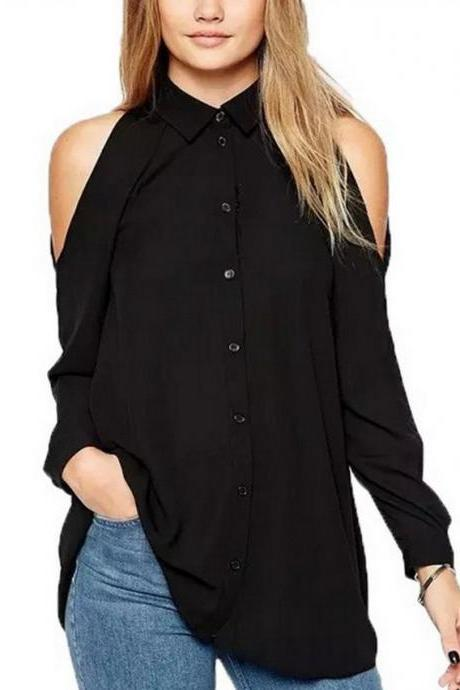 Off Shoulder Sexy Leisure Long Sleeve Blouse