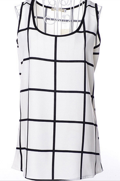 Black And White Dimity Check Vest Sleeveless T-shirt