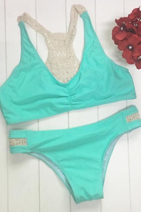 Fashion Sexy Green Weaving Hook Flower Two Pieces Swimwear