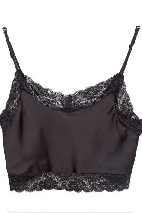Lace Appliquéd Silk Plunge V Spaghetti Straps Cropped Top