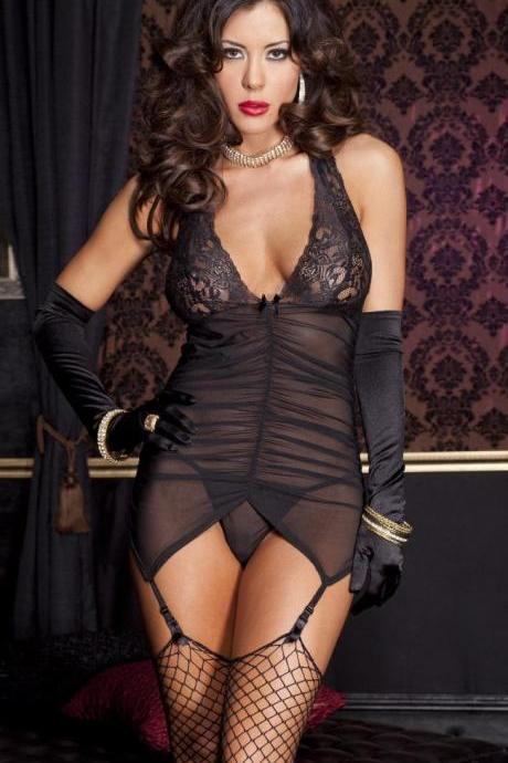 Sexy Lingerie Mesh Cloth Garters Underwear Dresses