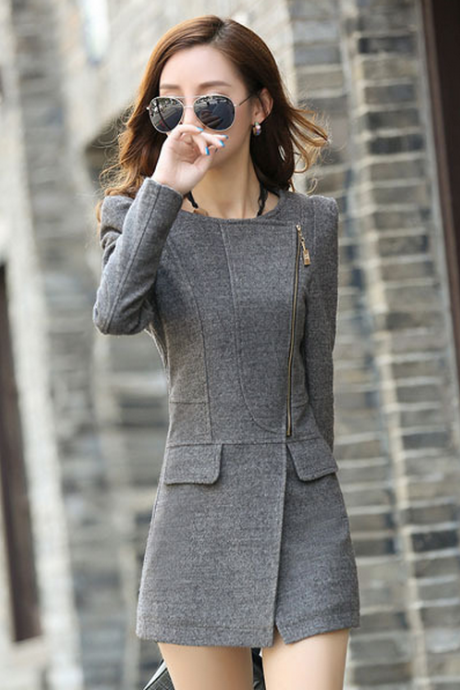 Round Neck Long Sleeve Cloth Cashmere Coat