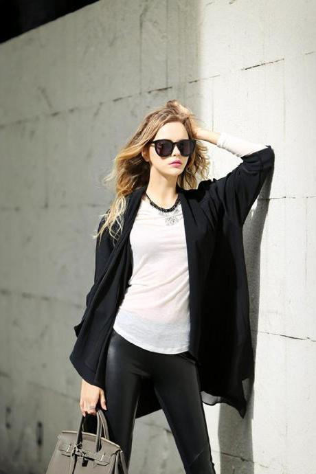 Fashion Stitching Loose Coat Cardigan